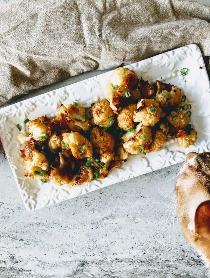 Baked cauliflower wings- honey garlic