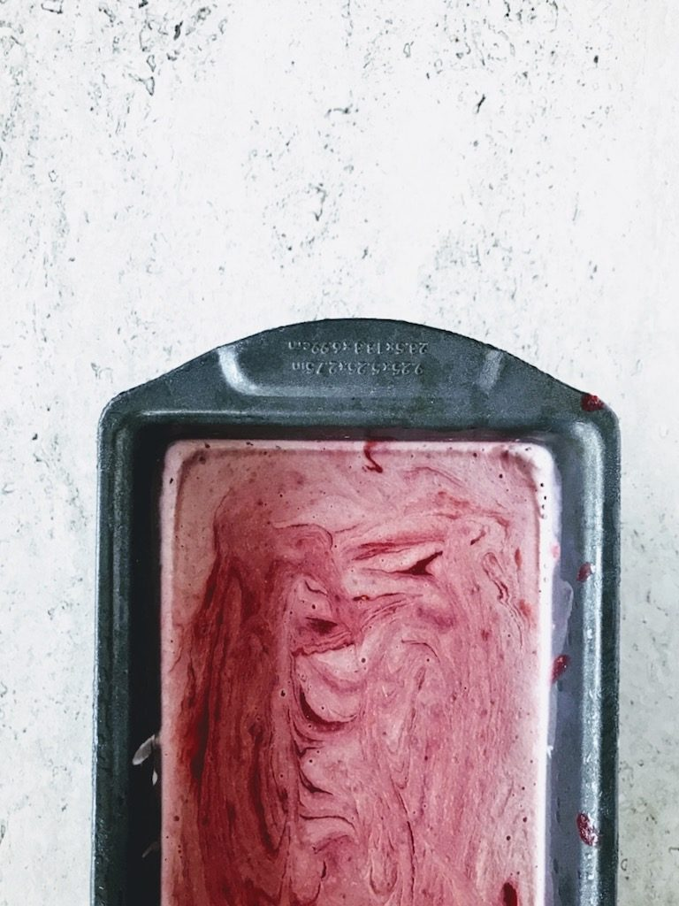 strawberry rhubarb ice cream in a pan