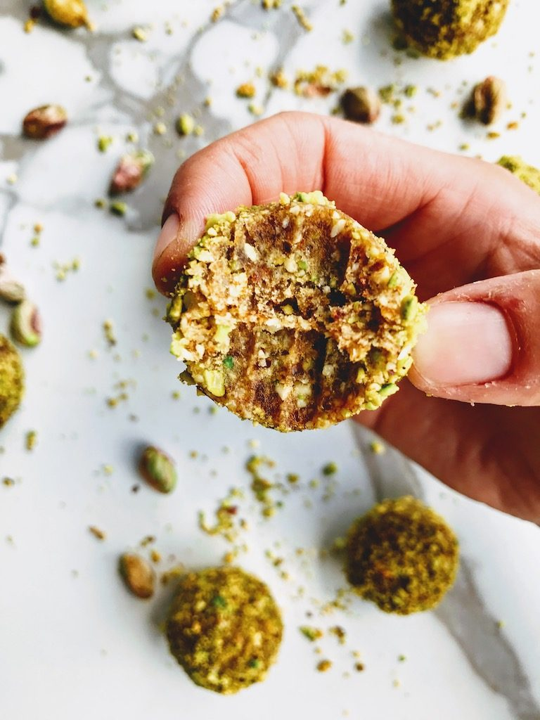 Close up of pistachio energy ball