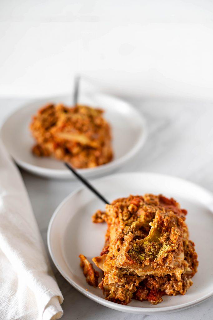 vegan lasagna closeup