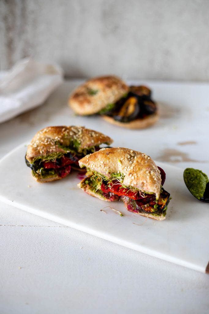 vegan sandwiches with grilled zucchini