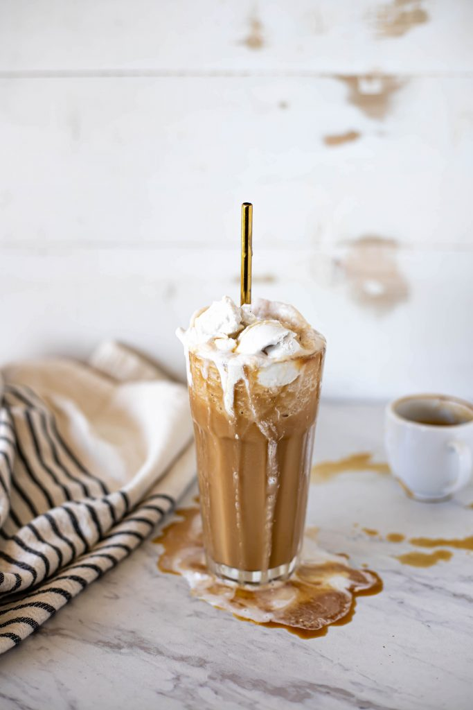 iced coffee with coconut whip