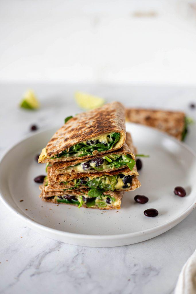 vegan cheese quesadilla stack