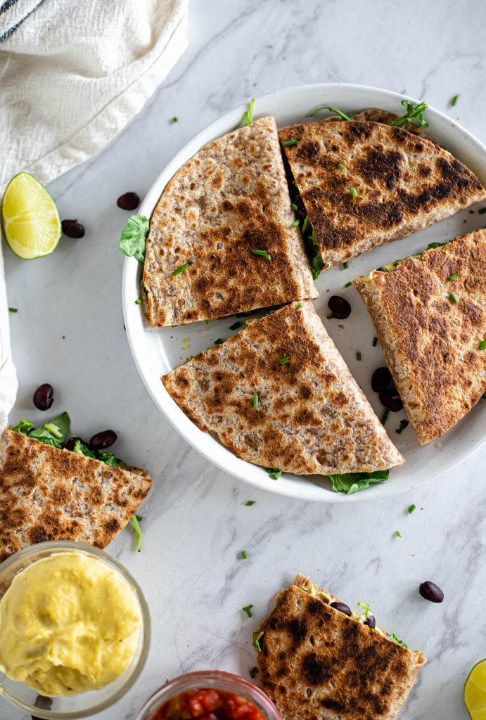 top view of vegan quesadillas