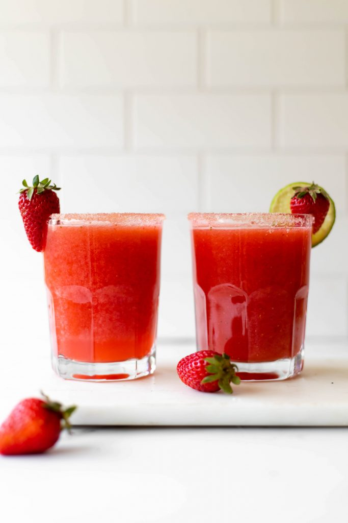 two strawberry vegan cocktails