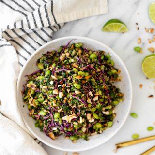 big bowl of vegan thai salad