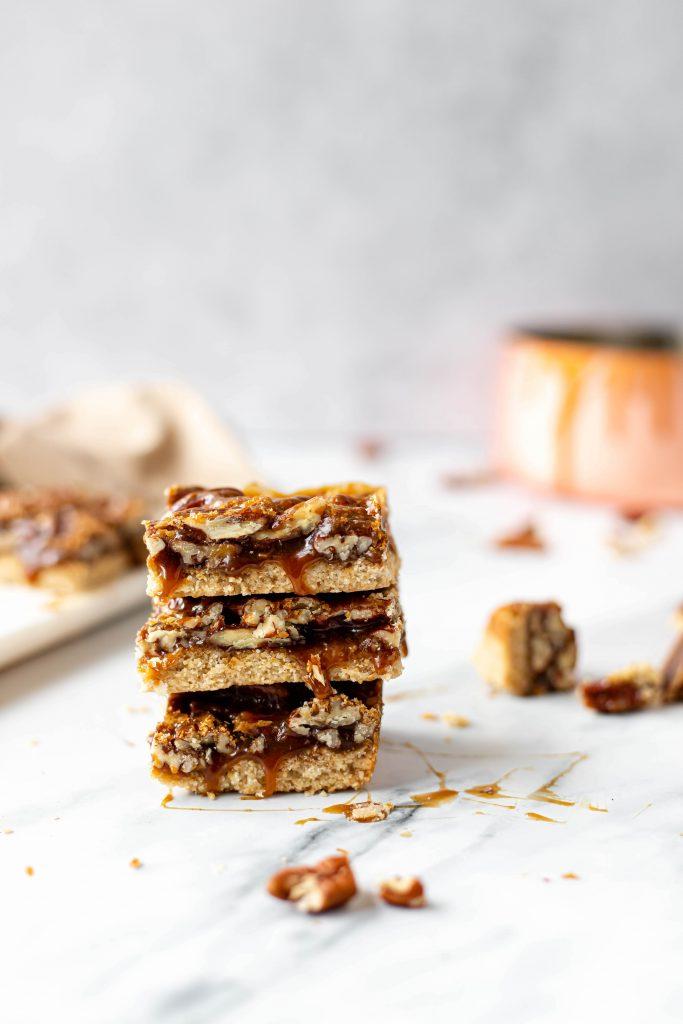 vegan pecan pie bars stacked